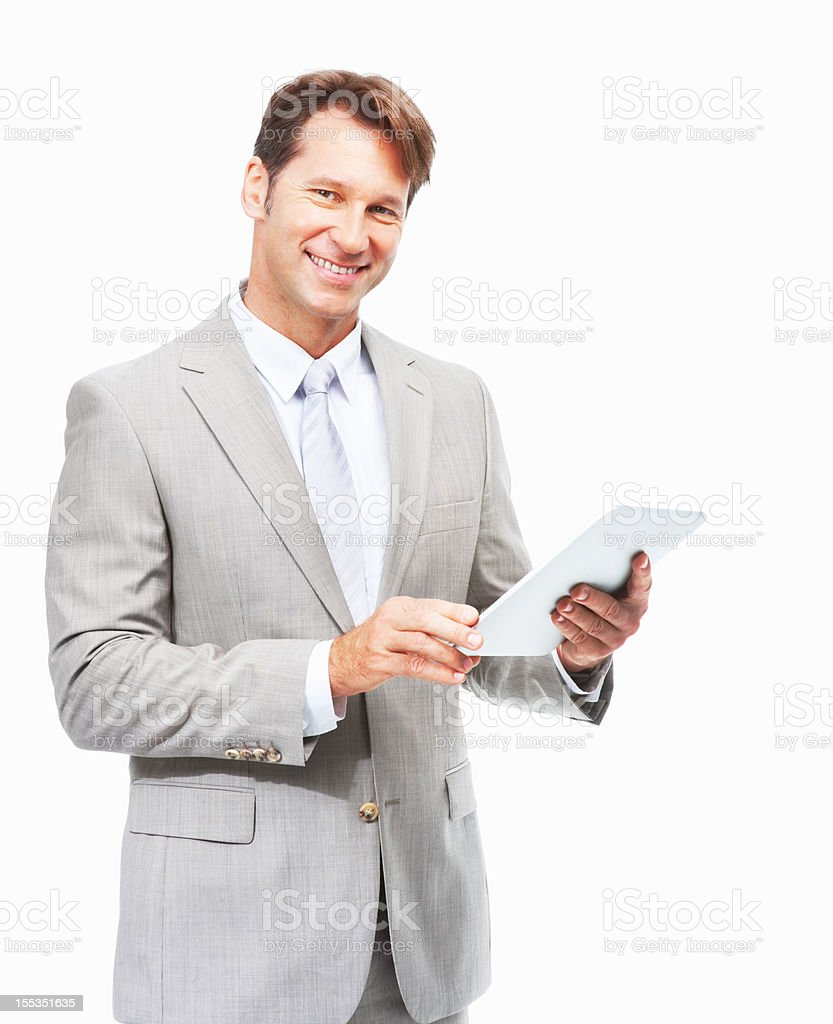 Modern executive keeping abreast of technology royalty-free stock photo