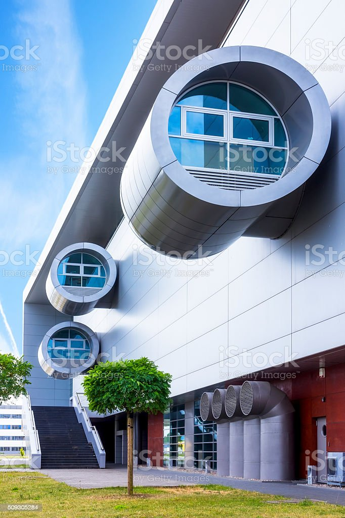 Modern facade of office building, Gdansk, Poland stock photo