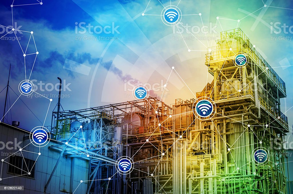 modern factory building and wireless communication network stock photo