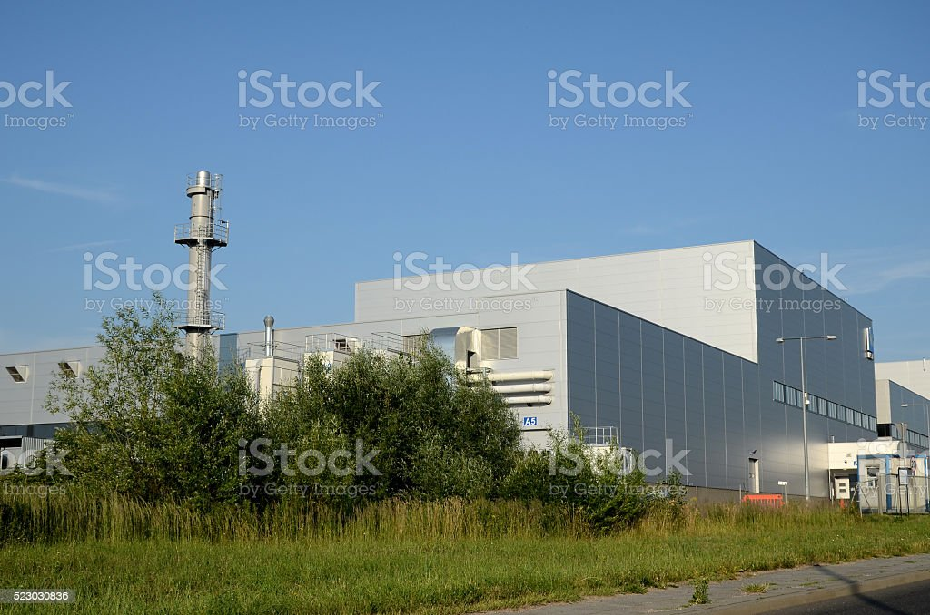 Modern factory building stock photo
