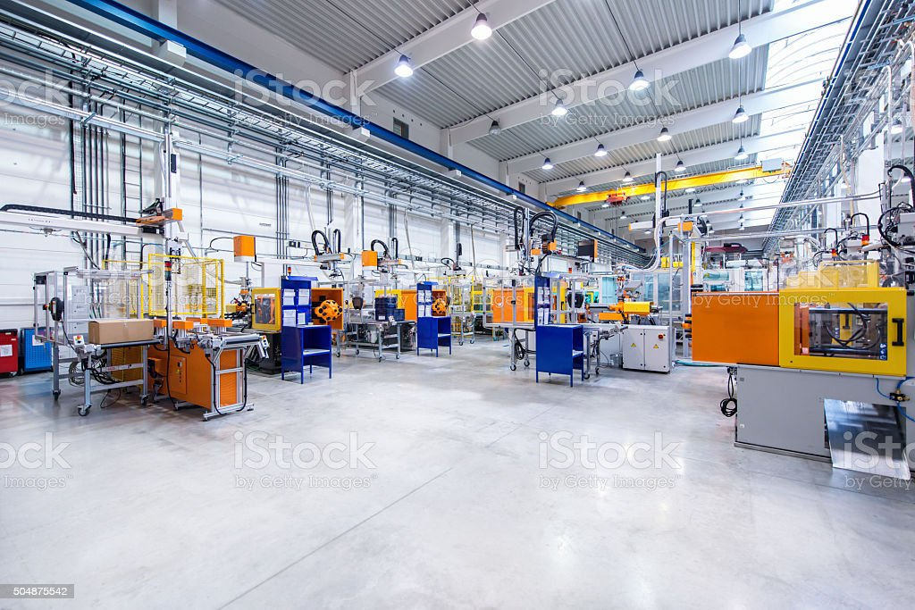 Modern factory interior stock photo