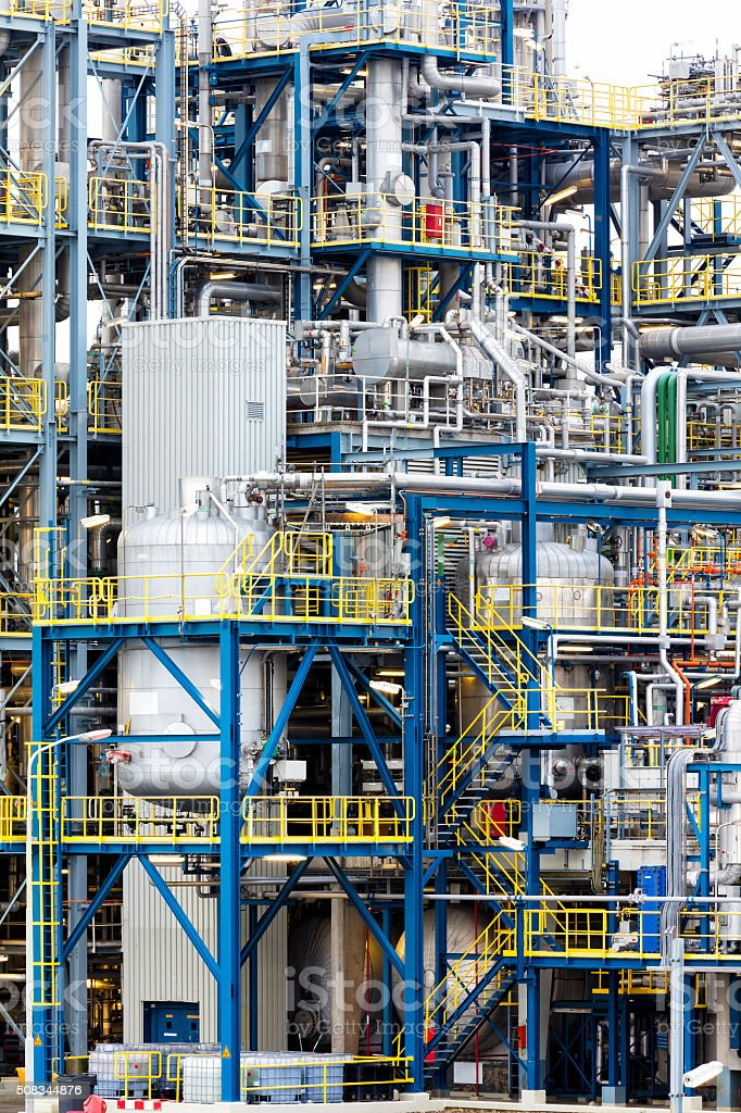 Modern Factory with Multicolored Pipes stock photo