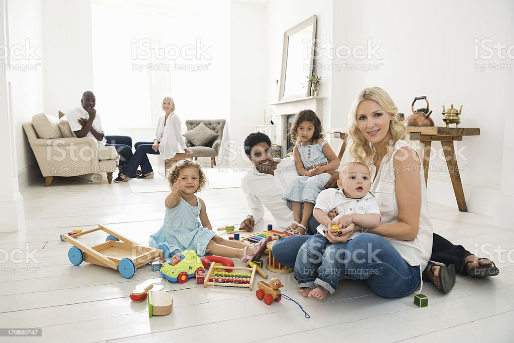 Modern Family At Home royalty-free stock photo