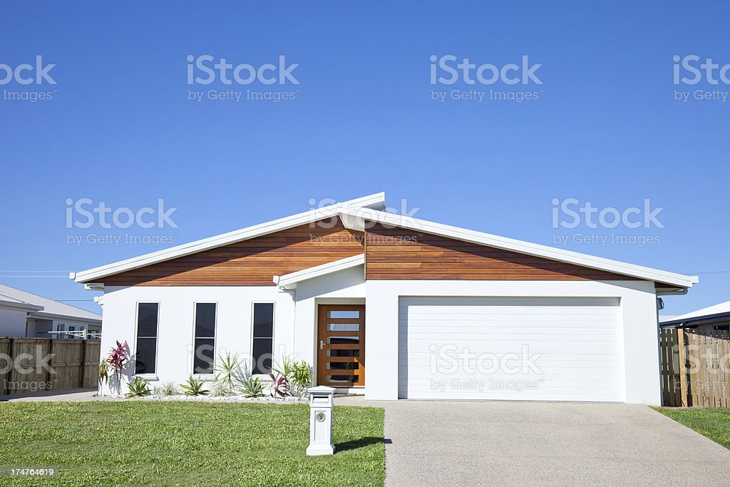Modern Family Home Front with clear blue sky copyspace stock photo