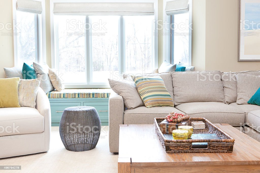 Modern Family Living Room Den Interior Design with Furnishing stock photo
