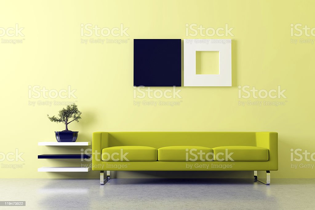 Modern feng shui interior stock photo