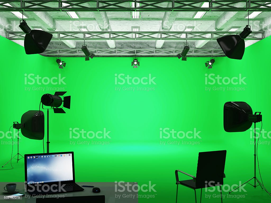 Modern Film Studio with Green Screen and Light Equipment stock photo