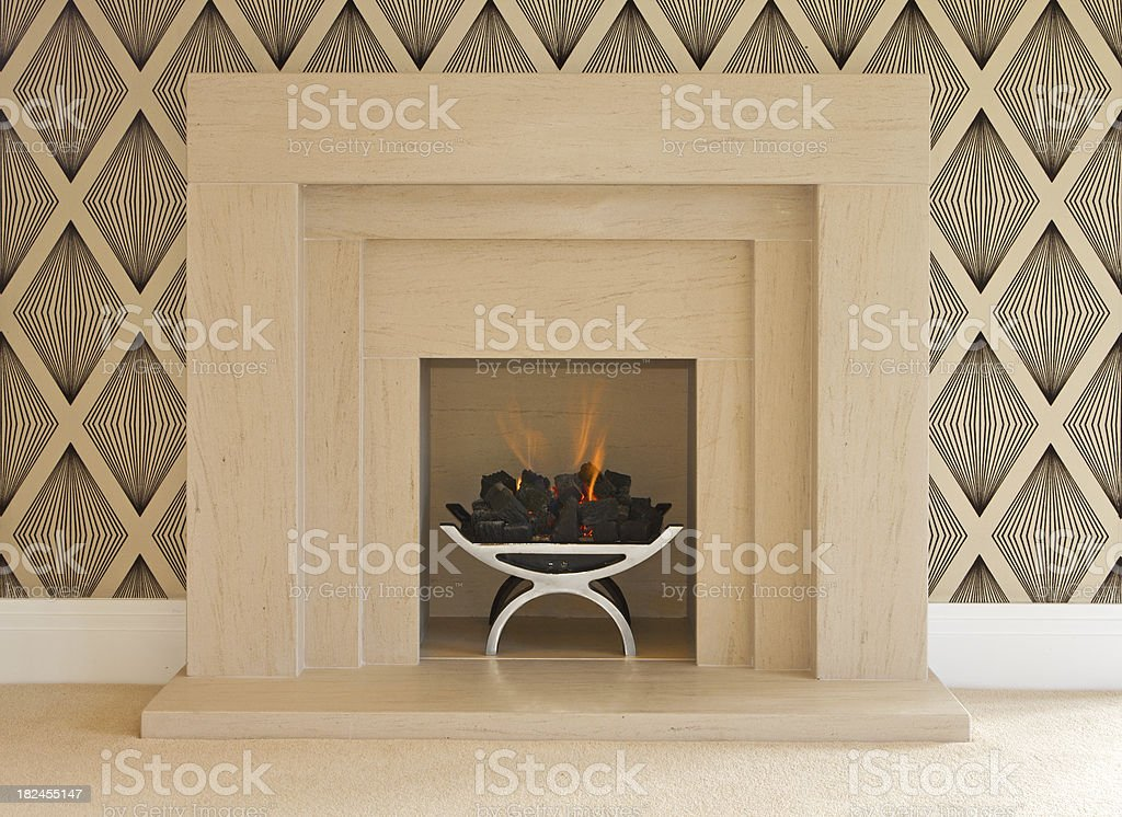modern fireplace in a luxury home stock photo