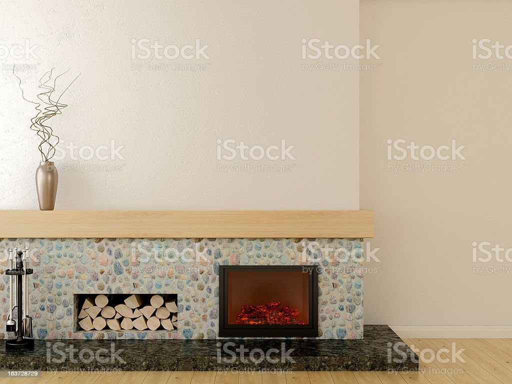 Modern fireplace stock photo