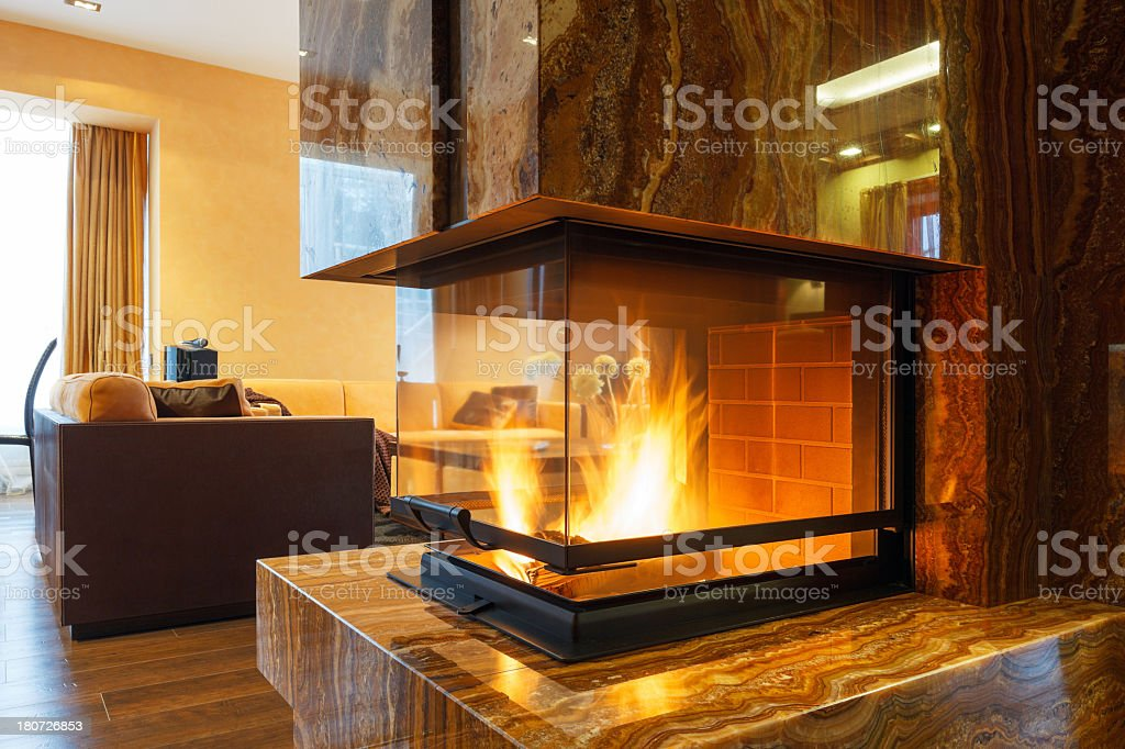 Modern fireplace royalty-free stock photo