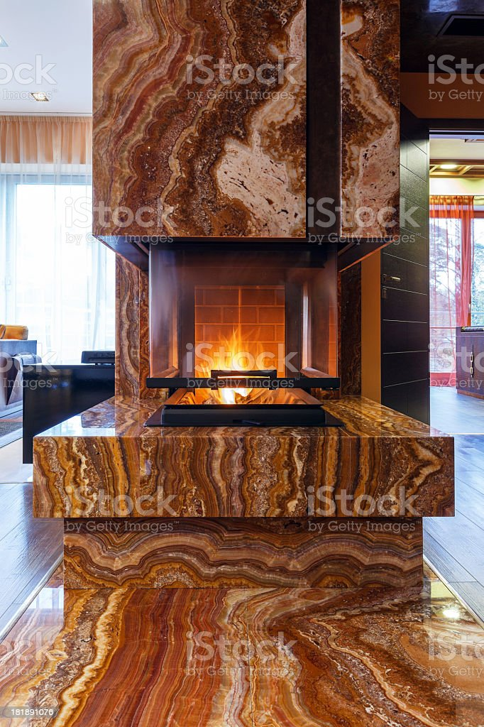 Modern fireplace royalty-free stock photo