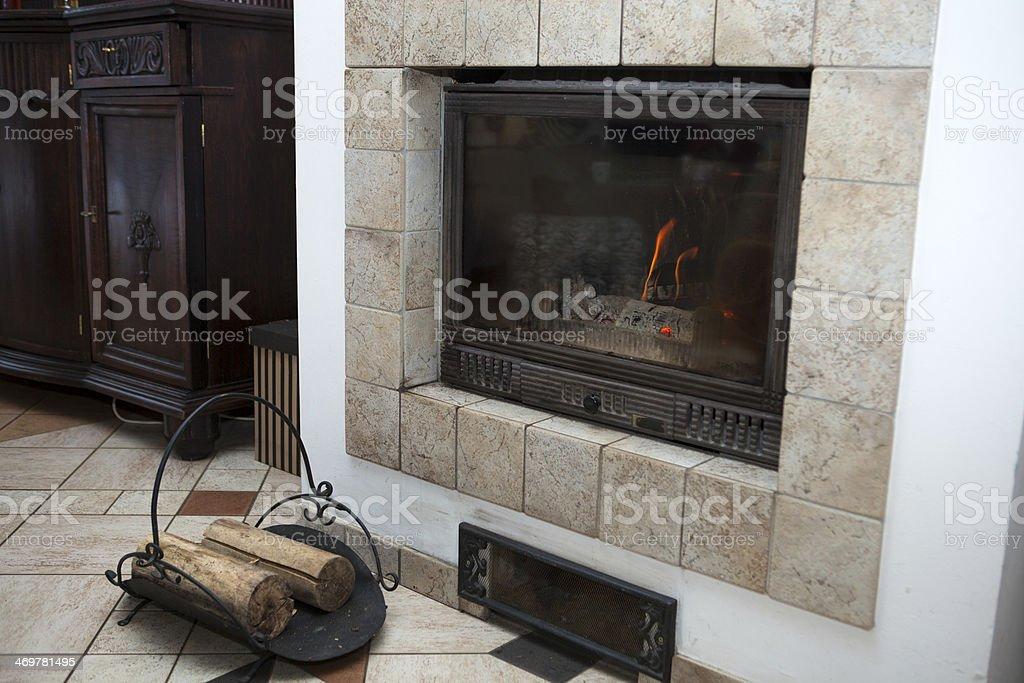 Modern fireplace. royalty-free stock photo
