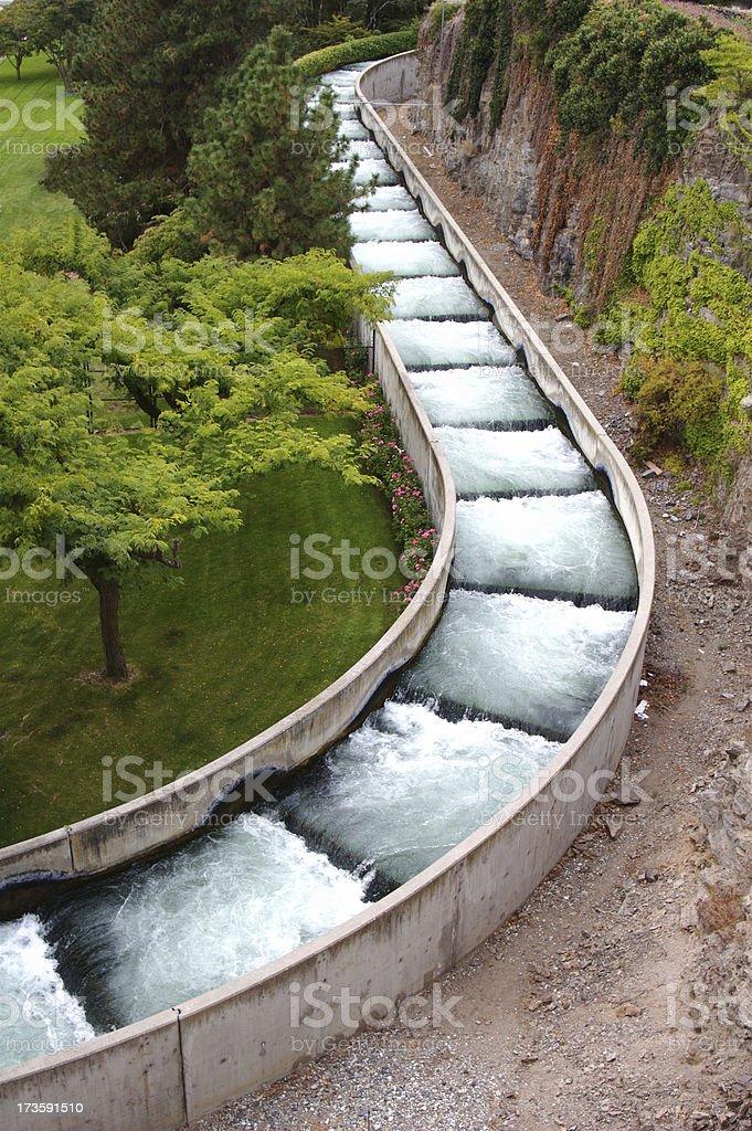 Modern Fish Ladder Around High Dam stock photo