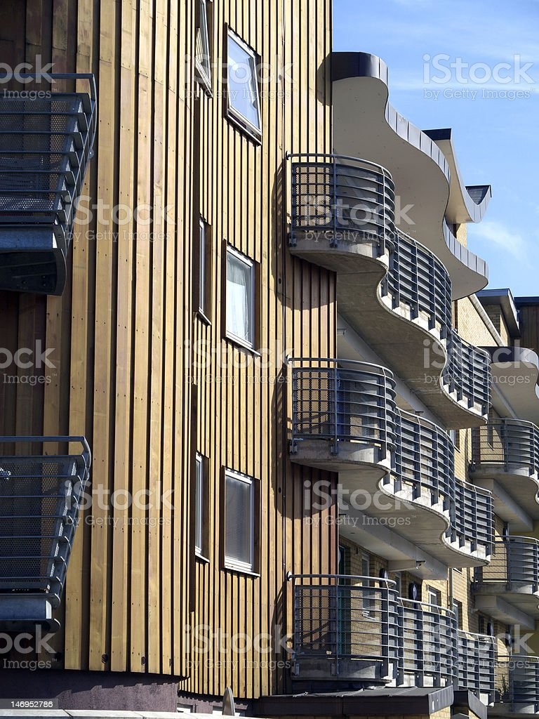 Modern flats with wood cladding. stock photo