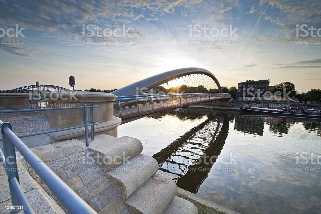Modern footbridge in Krakow, Poland royalty-free stock photo