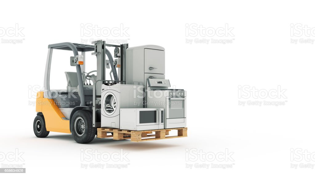 Modern forklift truck with appliances stock photo