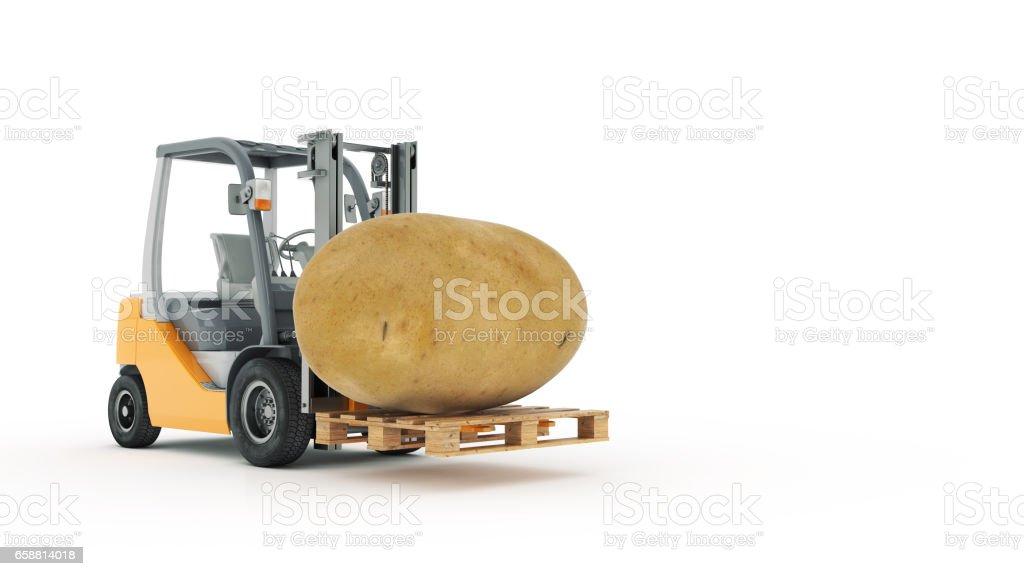 Modern forklift truck with potato stock photo