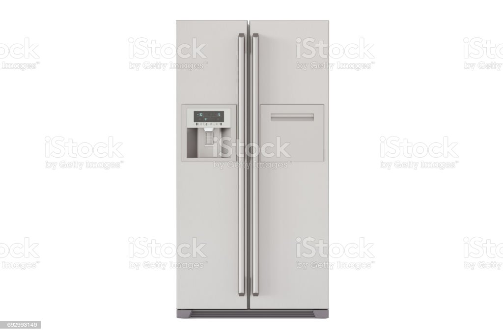 Modern fridge with side-by-side door system, 3D rendering stock photo