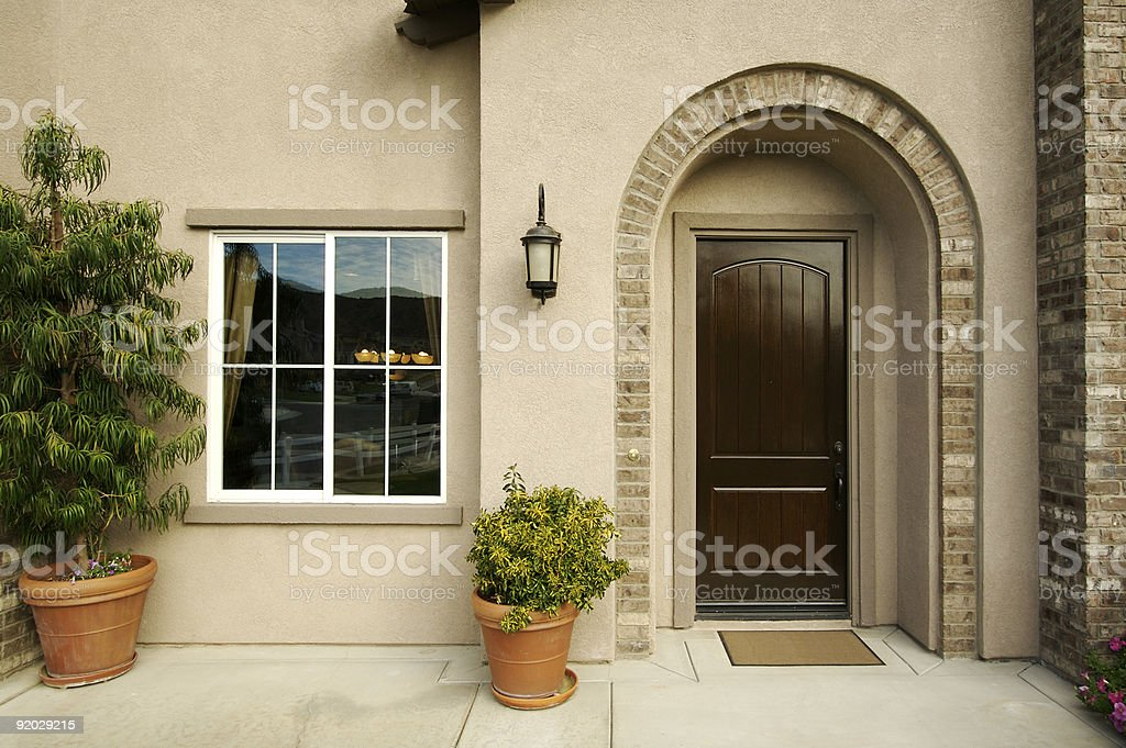 Modern Front Doorway and Patio stock photo