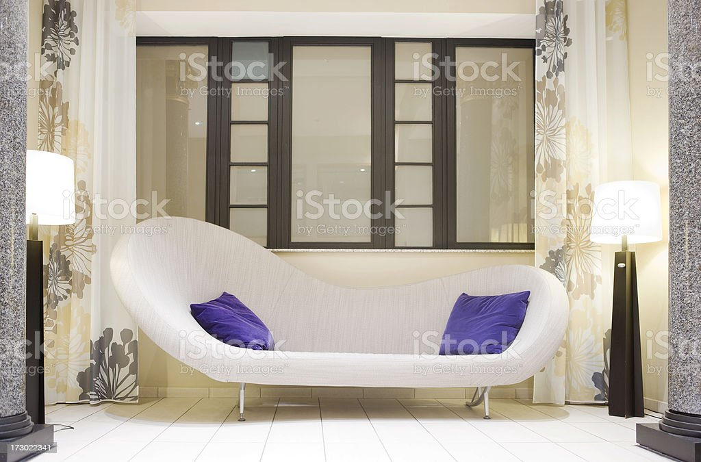 modern furniture in hotel lobby royalty-free stock photo