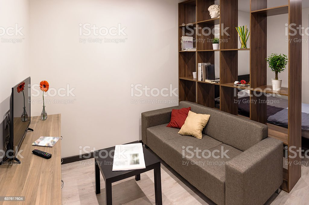Modern furniture in living room stock photo