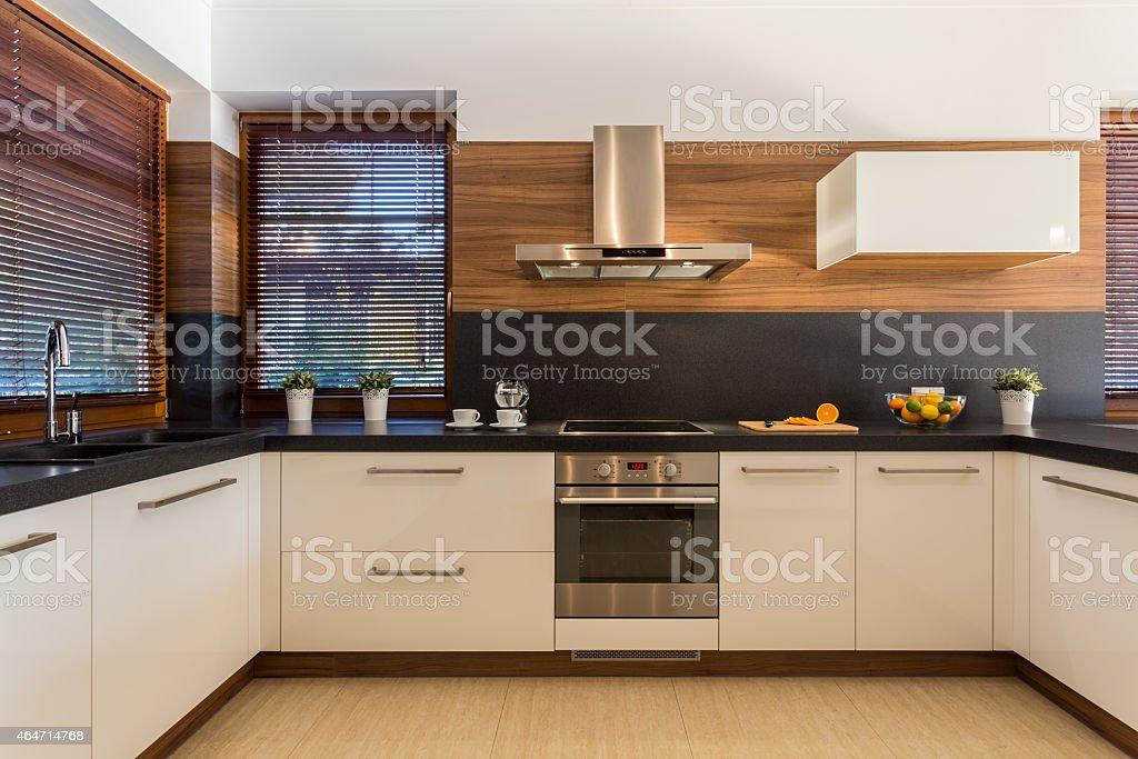 Modern furniture in luxury kitchen stock photo