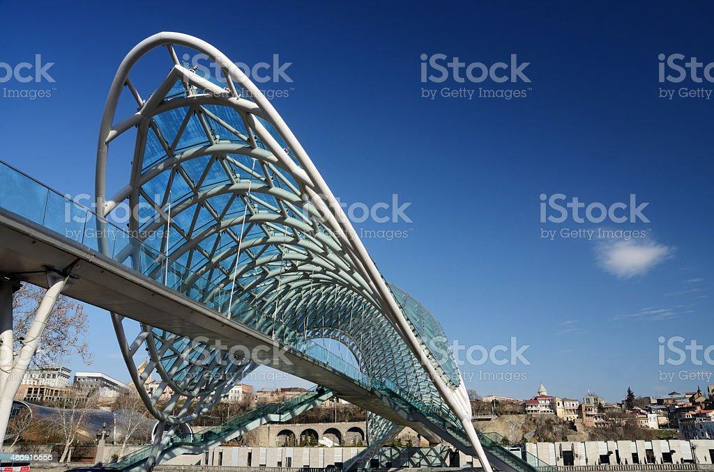 Modern futuristic Bridge of Peace over Mtkvari river,Tbilisi,Georgia stock photo