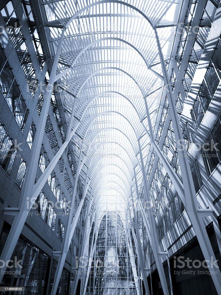 Modern futuristic building interior stock photo