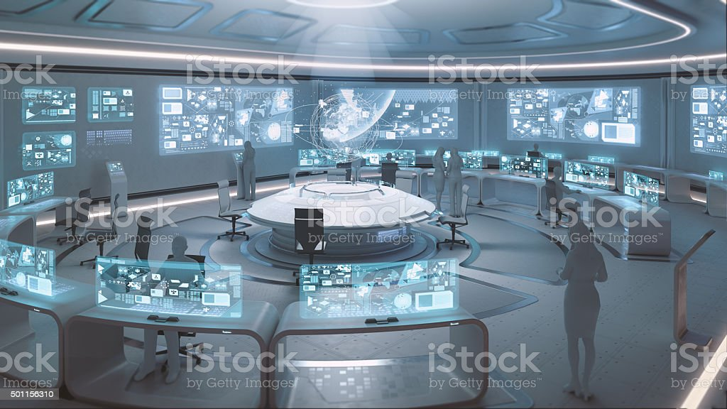 Modern, futuristic command center interior with people silhouettes stock photo