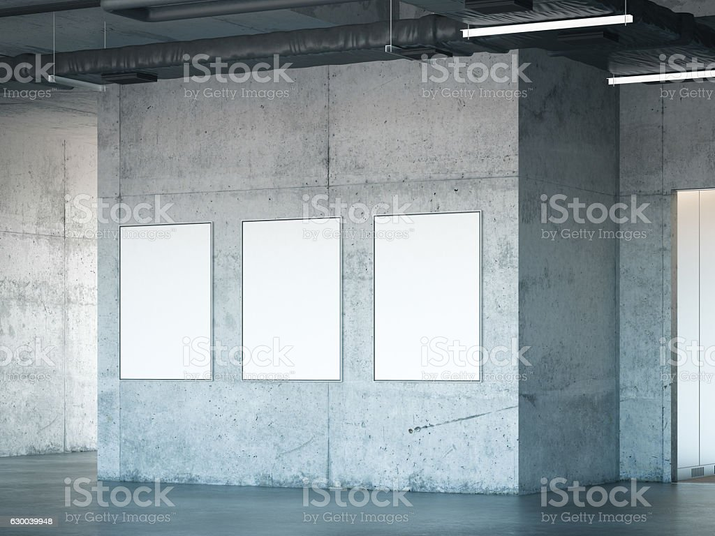 Modern gallery with concrete walls. 3d rendering stock photo