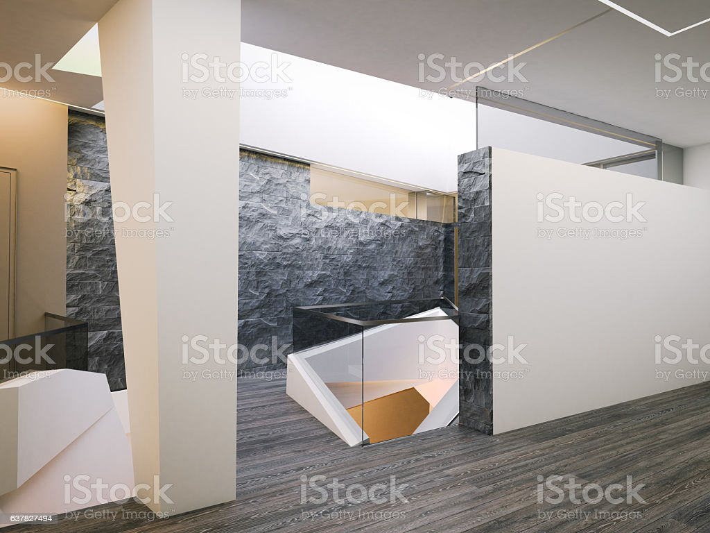 Modern gallery with white walls. 3d rendering stock photo
