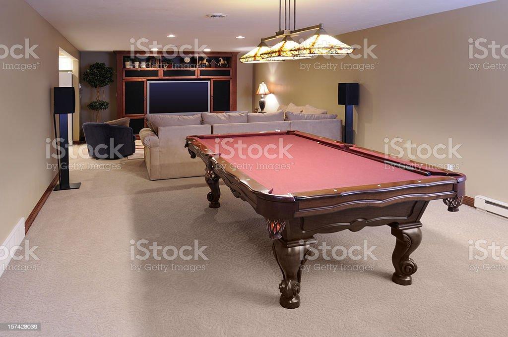 Modern Game Room; Pool Table, Custom Lighting, HDTV, Surround Sound stock photo