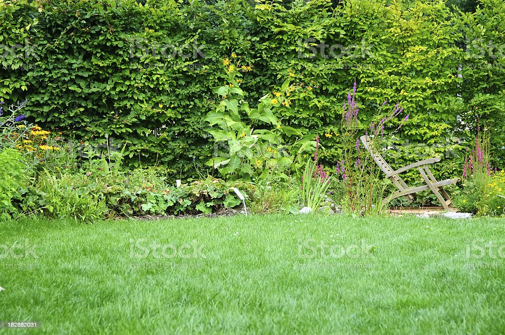 Modern Garden with wooden chair royalty-free stock photo