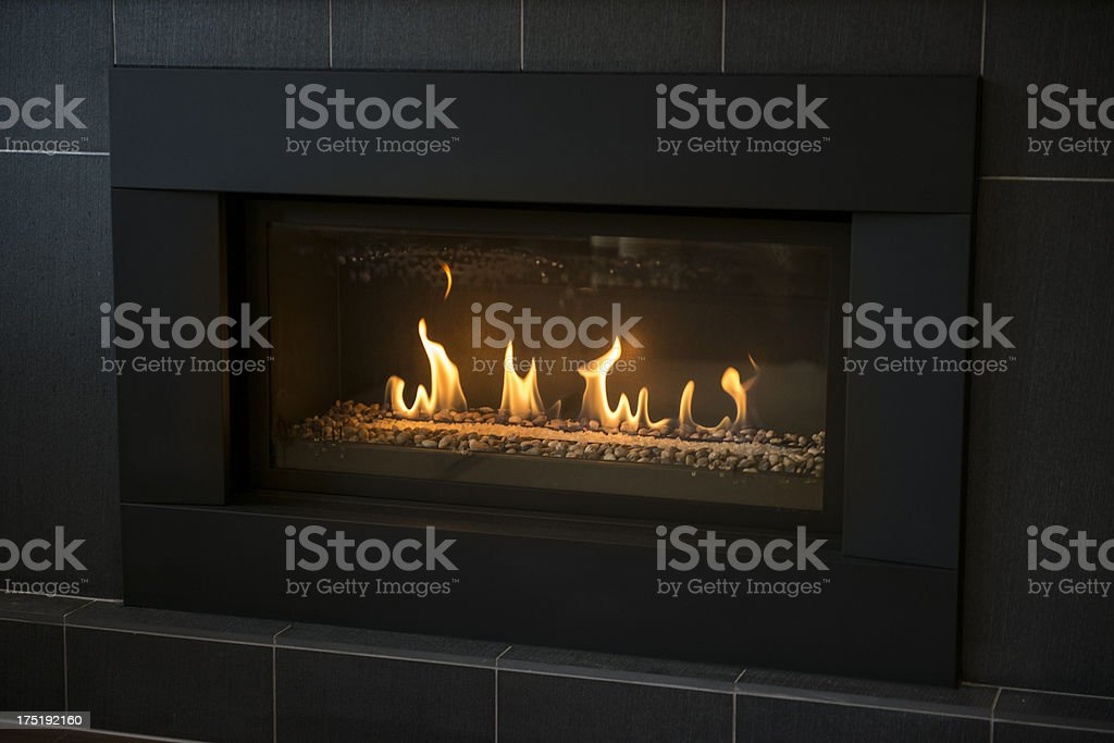 Modern Gas Fireplace stock photo