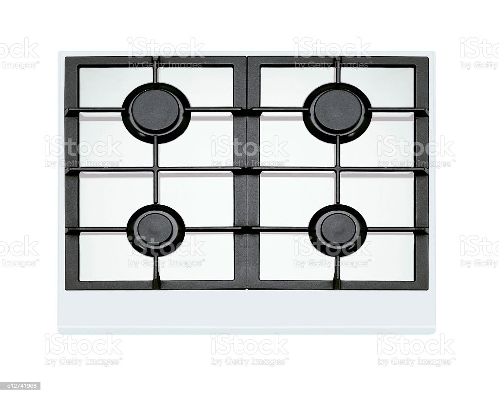 modern gas stove four burners stock photo