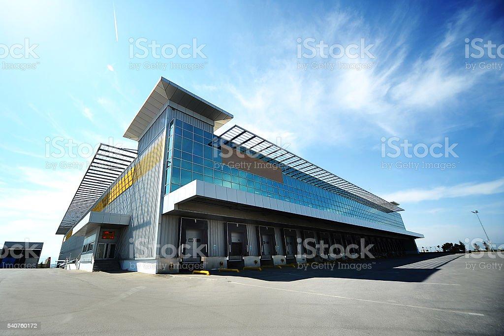 Modern gate storage building stock photo