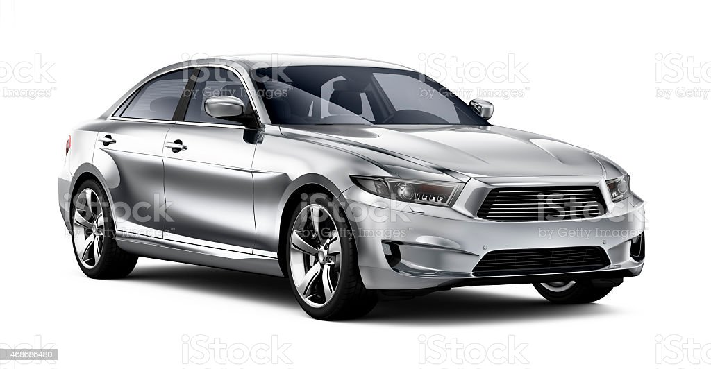 Modern generic car on white background stock photo