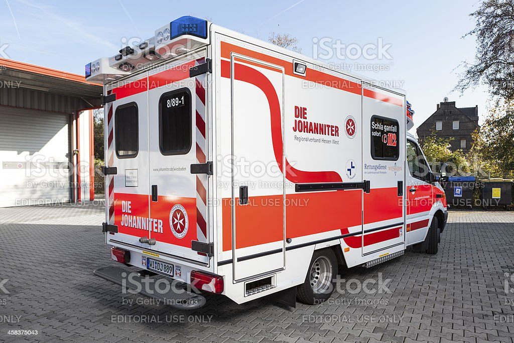 Modern german ambulance of JUH (Johanniter Unfall Hilfe) royalty-free stock photo