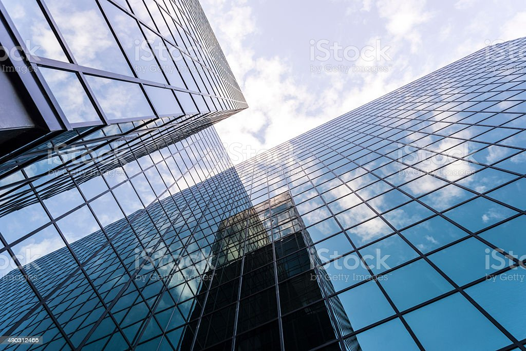 Modern Glass and Steel Business Building at Angle stock photo