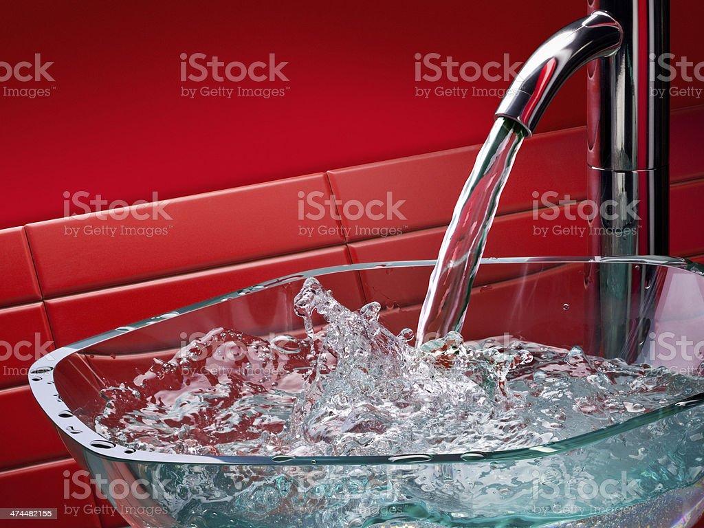 modern glass bathroom sink stock photo