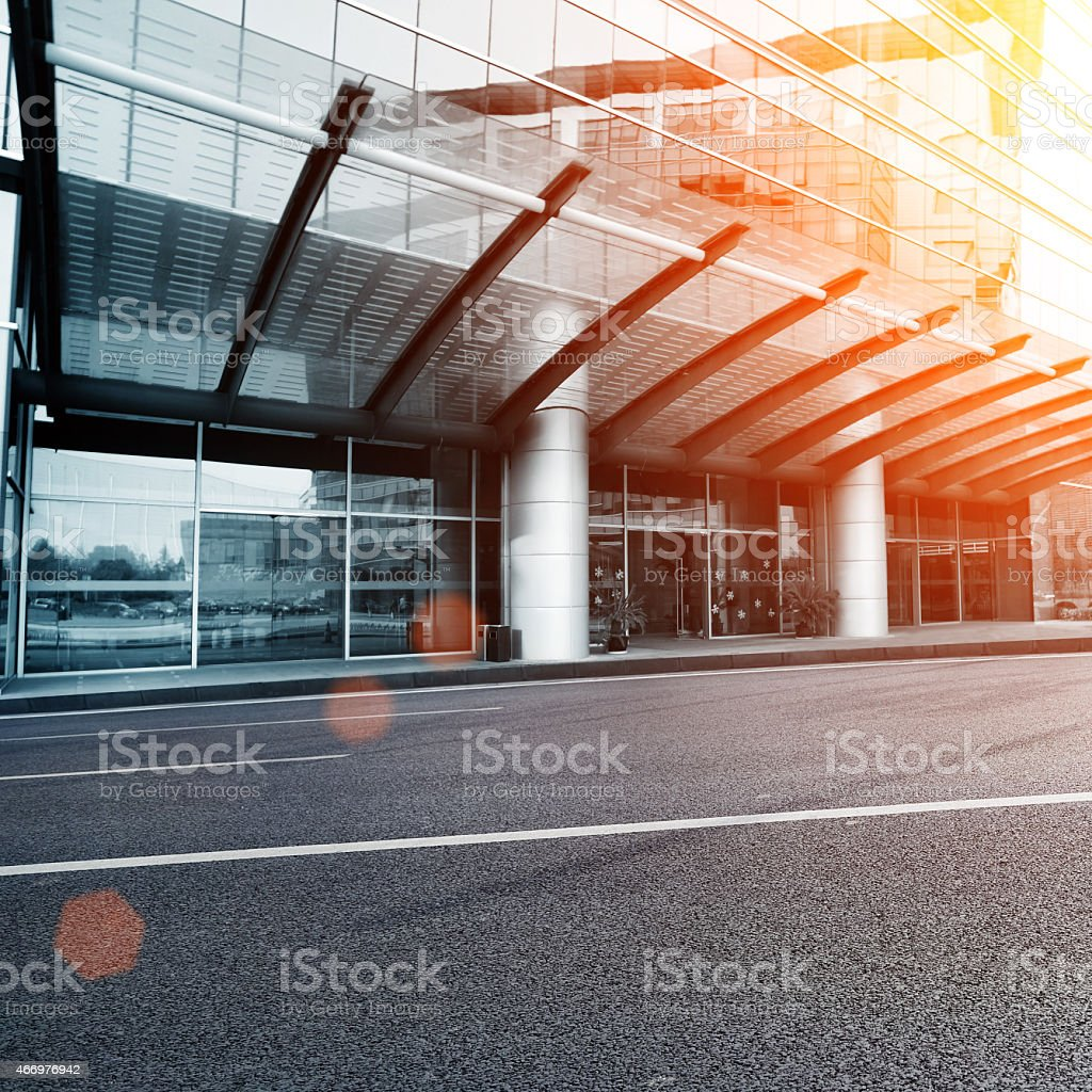Modern glass building exterior stock photo
