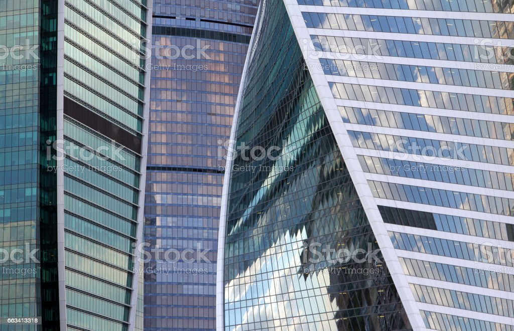 Modern glass buildings background stock photo