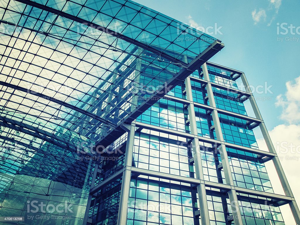 A modern glass business building stock photo
