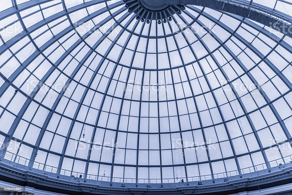 Modern glass ceiling on public building stock photo