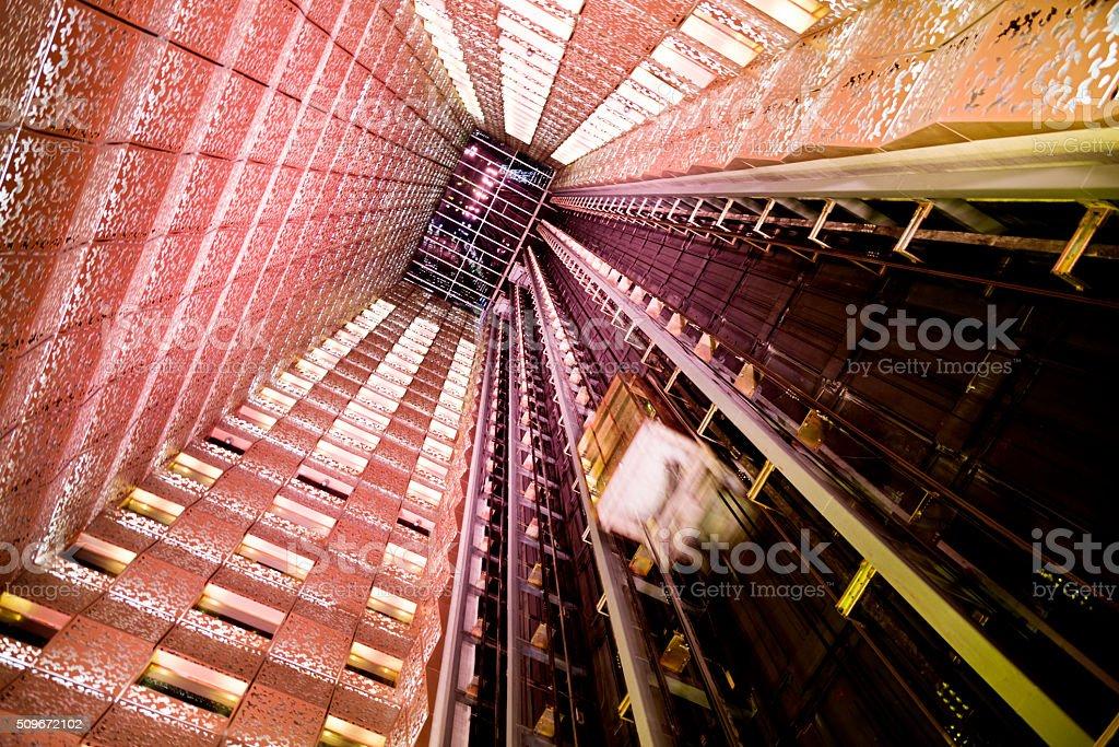 Modern glass elevator stock photo