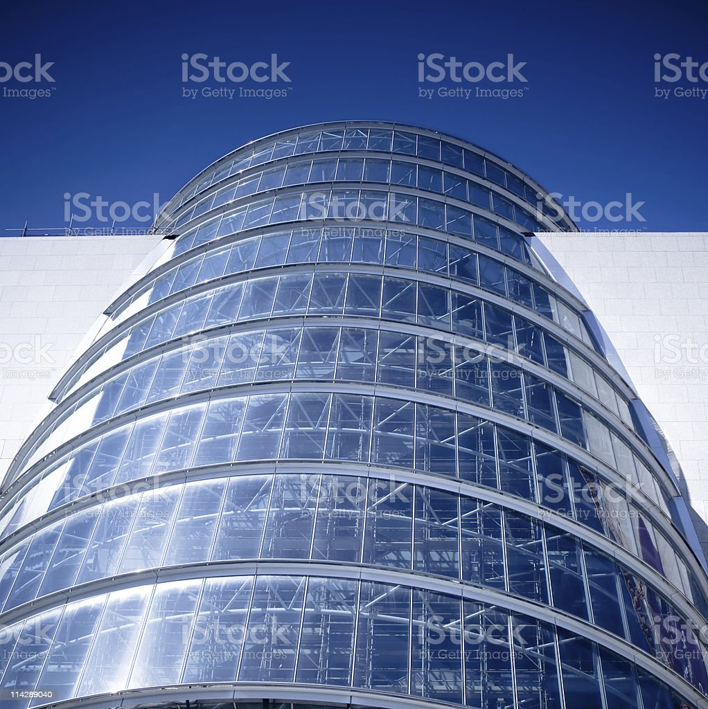 Modern glass facade building in Dublin stock photo
