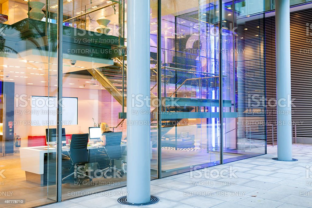 Modern Glass Fronted Office in London, England stock photo