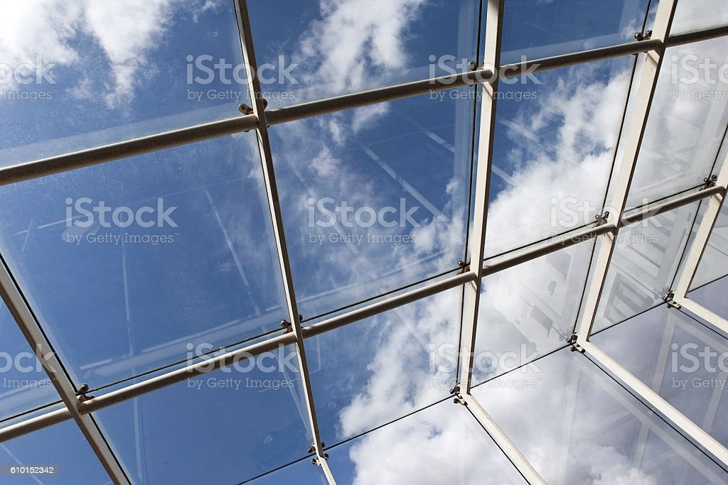 Modern glass roof stock photo