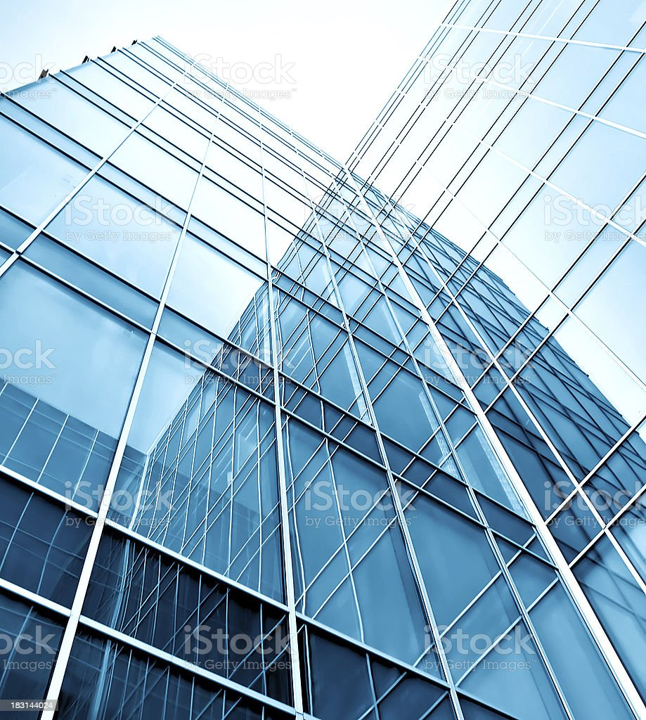 modern glass silhouettes of skyscrapers at night royalty-free stock photo