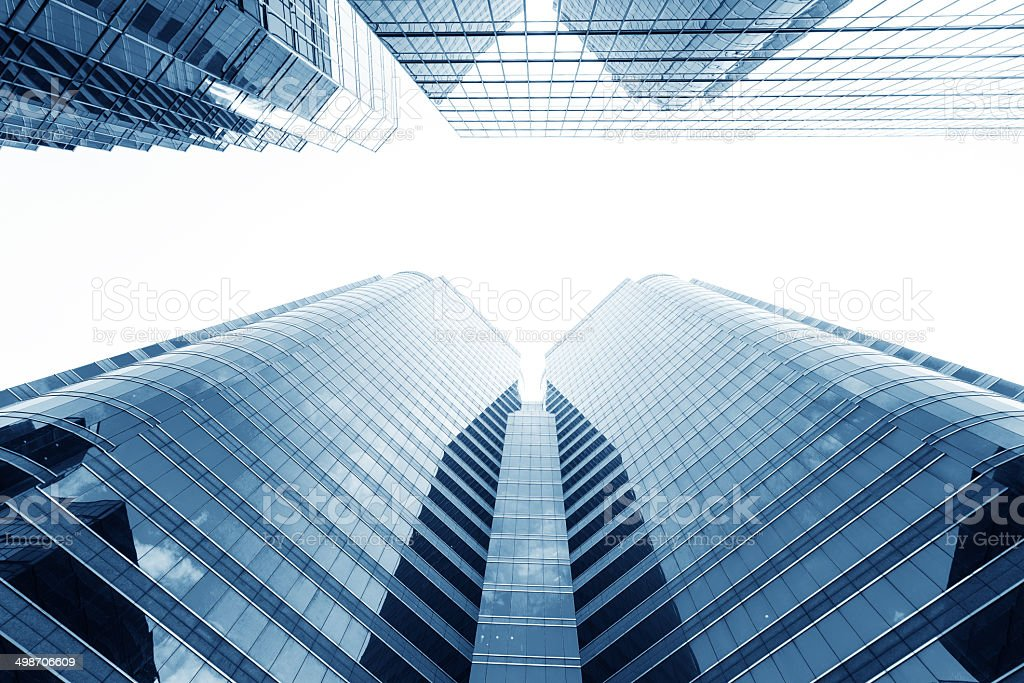Modern glass silhouettes of skyscrapers in the city stock photo